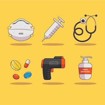 Ilustração de equipamentos de saúde para luta contra a coroa