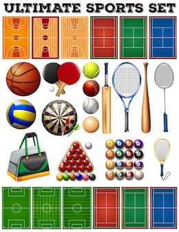 Ilustração de equipamentos desportivos e tribunais