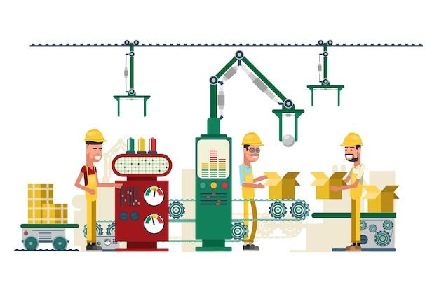 Ilustração de equipamentos e trabalhadores de tecnologia da indústria