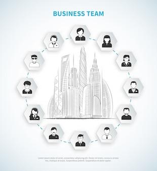 Ilustração de equipe de negócios