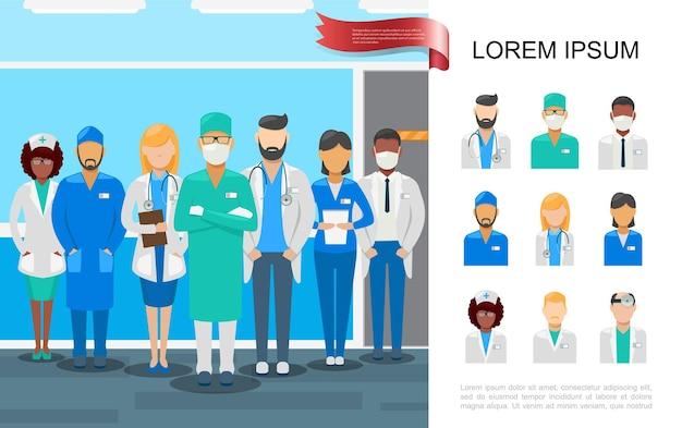 Ilustração de equipe médica plana colorida com médicos e enfermeiras em diferentes uniformes profissionais