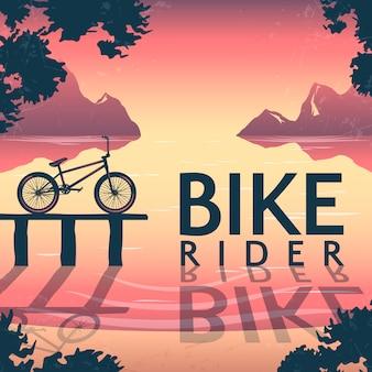 Ilustração de equitação de bicicleta bmx