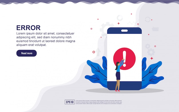 Ilustração de erro de aplicativo e erro de sistema com pessoas pequenas. ilustração para landing page, conteúdo de mídia social, publicidade.