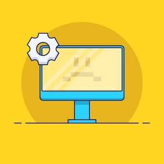 Ilustração de erro de computador em design plano