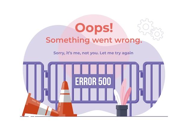 Ilustração de error 500. conceito de design plano moderno de barreira de portão para site