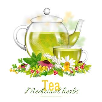 Ilustração de ervas medicinais de bule e xícara de chá