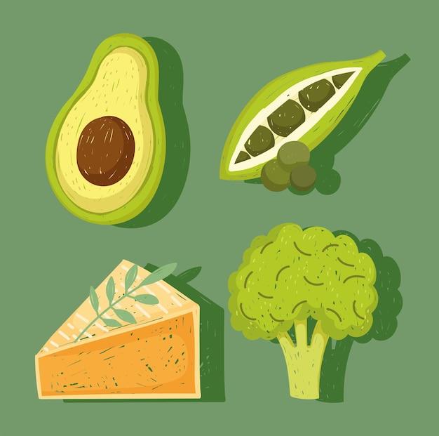 Ilustração de ervilhas frescas de abacate e brócolis de comida saudável