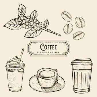 Ilustração de esboço de café