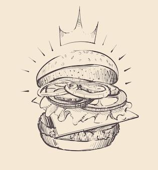 Ilustração de esboço de hambúrguer grande e suculento