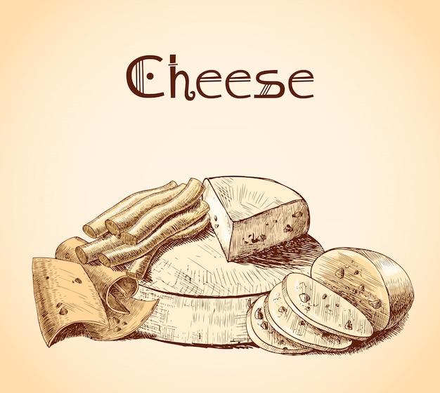 Ilustração de esboço de queijo