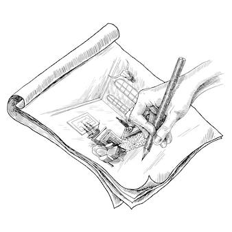 Ilustração de esboço de sala