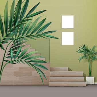 Ilustração de escada de madeira em interior de estilo minimalista