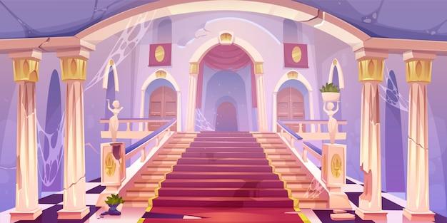 Ilustração de escadaria do castelo abandonado