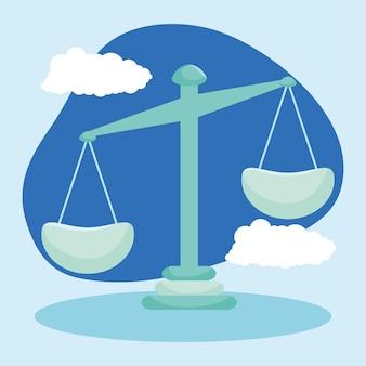Ilustração de escala e nuvens de equilíbrio