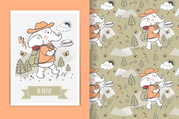 Ilustração de escalada de elefante doodle e padrão sem emenda