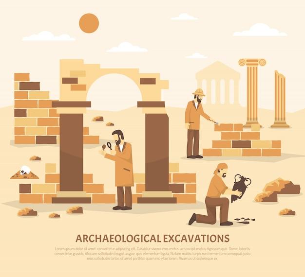 Ilustração de escavação de arqueologia