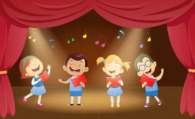 Ilustração, de, escola, crianças, cantando, fase