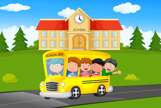 Ilustração, de, escola, crianças, montando, um, escola, autocarro