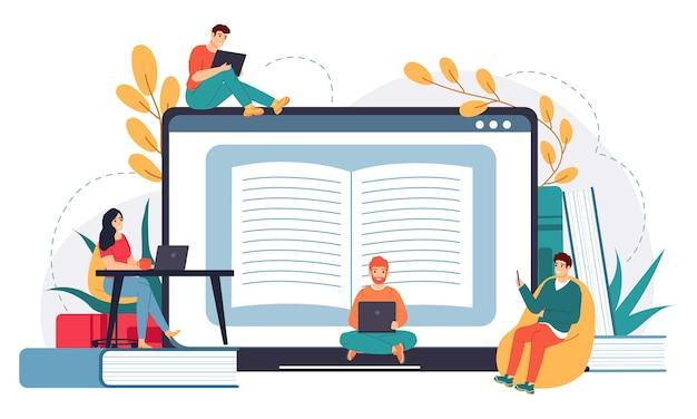 Ilustração de escola de negócios online