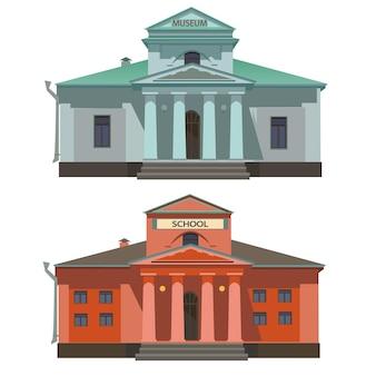 Ilustração de escola e museu isolada no fundo branco