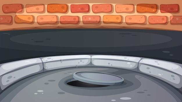 Ilustração de escotilha de esgoto