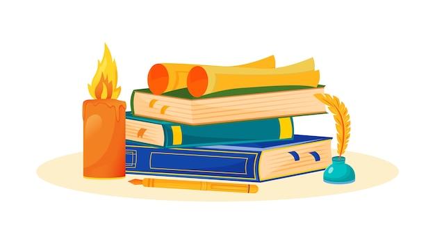 Ilustração de escrita criativa. leitura de romance. disciplina escolar de literatura. metáfora de estudo de narrativa. aula universitária. pilha de livros e objetos de desenho animado do tinteiro