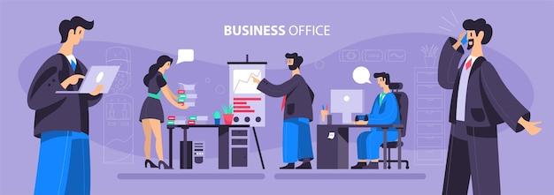 Ilustração de escritório comercial com trabalhadores