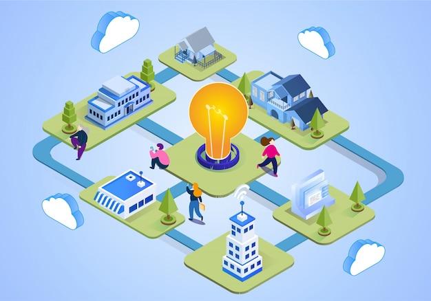 Ilustração de escritório de negócios com lâmpada no centro