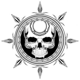 Ilustração de escudo de caveira