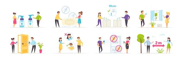 Ilustração de esforços de proteção e prevenção de coronavírus