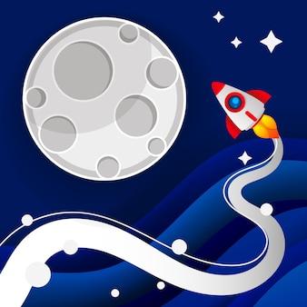 Ilustração de espaço sideral de pouso na lua