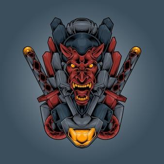 Ilustração de espada de samurai robô diabólico