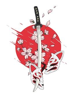 Ilustração de espada e sakura no estilo japonês Vetor Premium