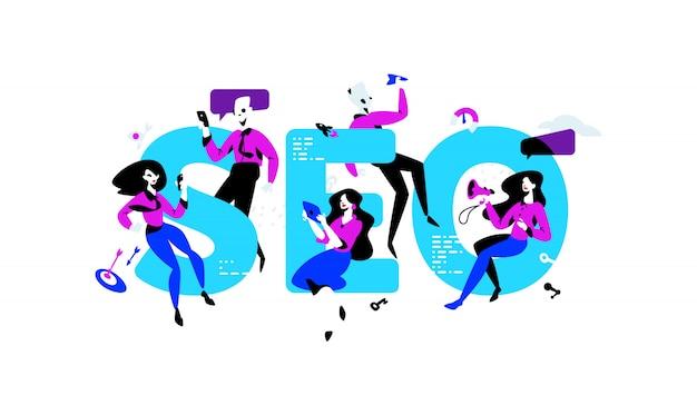 Ilustração de especialistas em seo