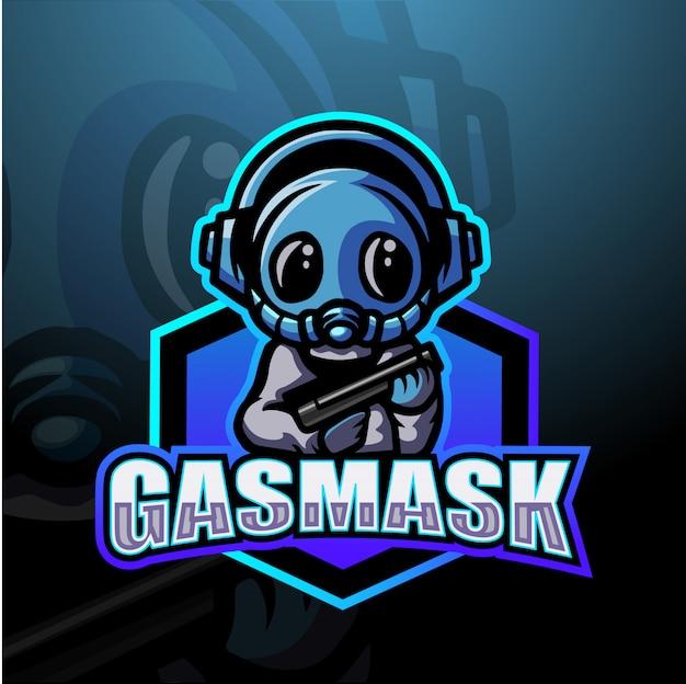 Ilustração de esport de mascote de máscara de gás