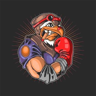 Ilustração de esporte de boxe cabeça de águia