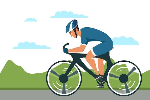 Ilustração de esporte de ciclo, personagem de desenho animado de piloto de bicicleta de estrada.