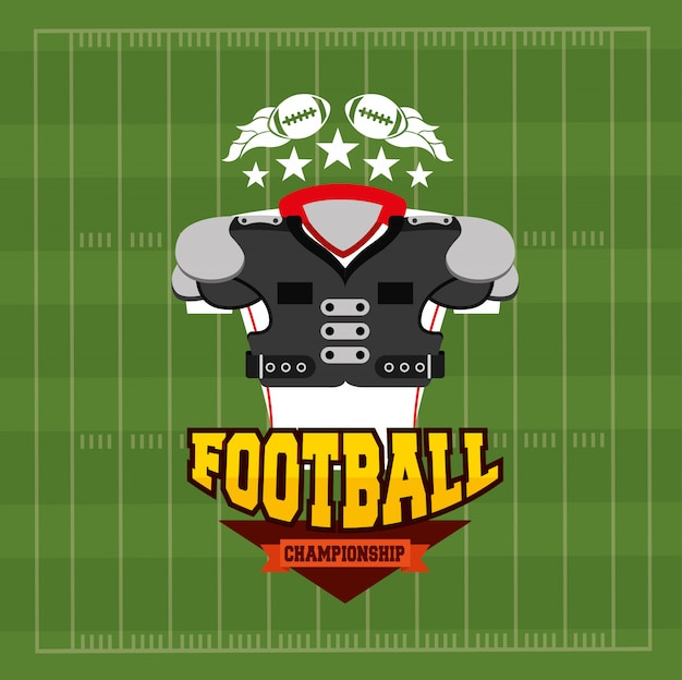 Ilustração de esporte de futebol americano com equipamento de camisa frontal