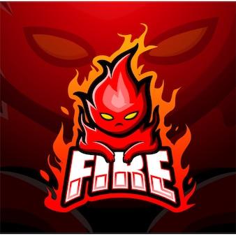 Ilustração de esporte de mascote de fogo
