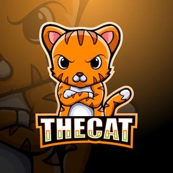Ilustração de esporte de mascote de gato