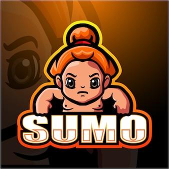 Ilustração de esporte de mascote de sumô