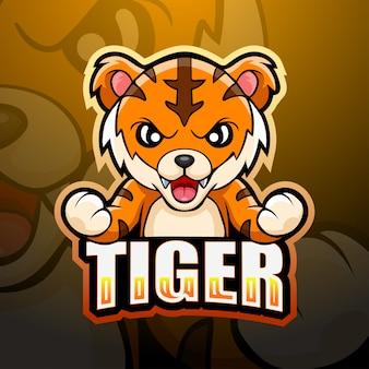 Ilustração de esporte de mascote de tigre