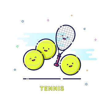 Ilustração de esporte de tênis