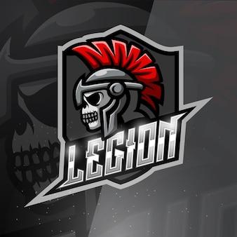 Ilustração de esporte do mascote do crânio da legião