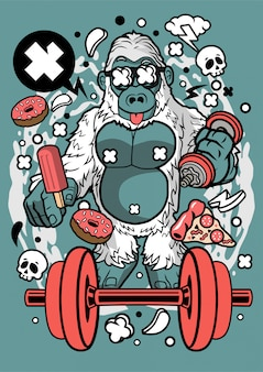Ilustração de esporte e nutrição de gorila branca