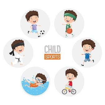 Ilustração de esportes infantis