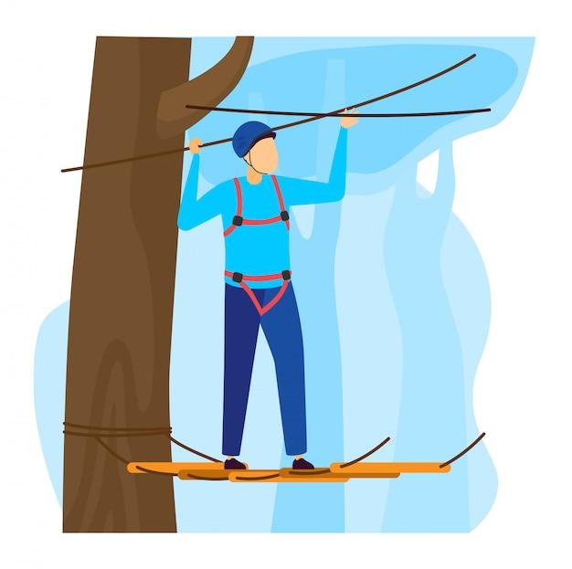 Ilustração de esportista, personagem de alpinista homem dos desenhos animados, subir escadas de corda com equipamento de proteção em branco