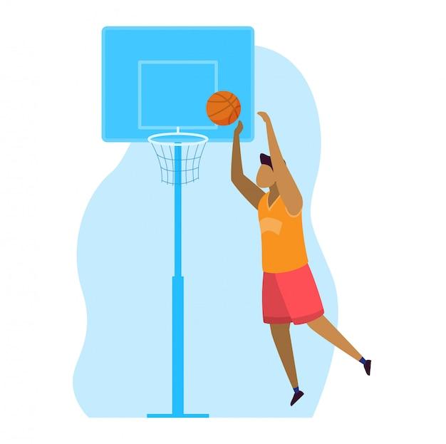 Ilustração de esportista, personagem de jogador de homem profissional dos desenhos animados pulando, marcando gol durante jogo de basquete em branco
