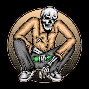 Ilustração de esqueleto bêbado. vetor premium