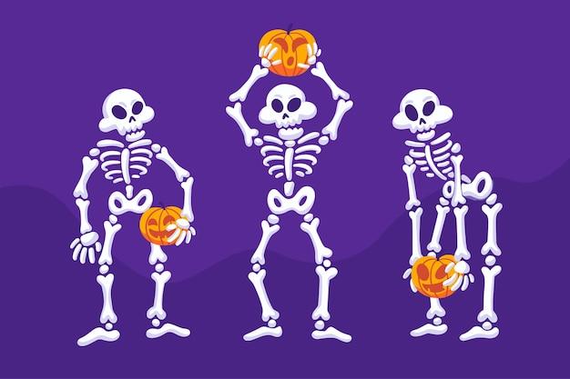 Ilustração de esqueleto da coleção de halloween